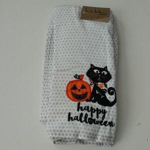 Nicole Miller Halloween Cat Kitchen Towels NWT